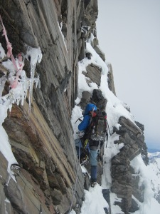 Sphagetti Junction, Dave Ellacot on the lead, Summit rocks, Aoraki Mt Cook, December 2009