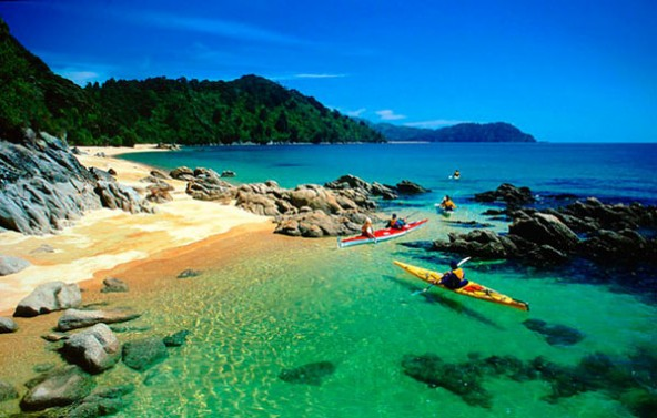 Sea Kayaking in the Abel Tasman national park, New Zealand.