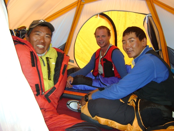 Ngima Sherpa(on left) with his customary smile, Kaji Sherpa and I share a tent at the North Col, 7000m on Everest's North Ridge