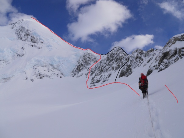 Our ascent route in red, descent in black. (Photo: Alan Silva)