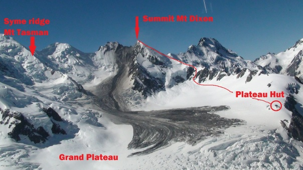 Image taken by helicopter by Alpine guides. The red line shows our ascent route up Mt Dixon.  Clearly evident is the ridge line on Mt Dixon where the landslide started. Plateau hut is circled in red.  To give a sense of scale, the horizontal distance from the bottom of the ridge to where the landslide ended is 3km.