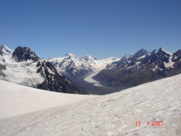 Looking north west from Ball Pass up the Tasman glacier.