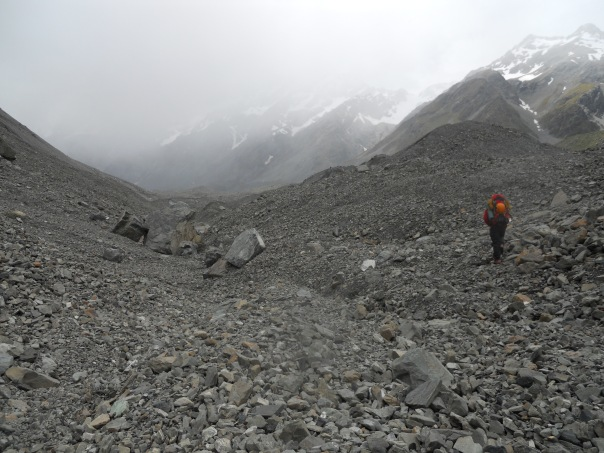 Starting the tiring plod over the Hooker glacial moraine. (Photo: Alan Silva)
