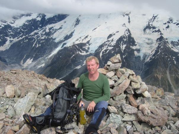 David Ellacott has a well earned break on the summit of Mt Wakefield.