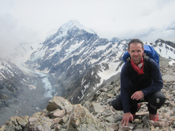 The Hooker glacier and Mt Cook;s summit ridge behind me.