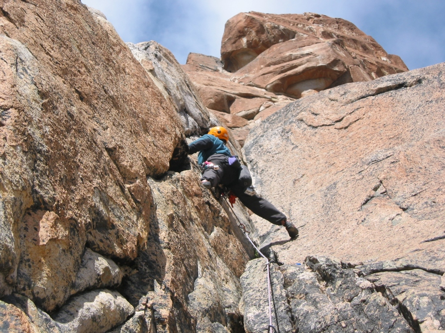 Climbing the 1st pitch of  Aguja Frey
