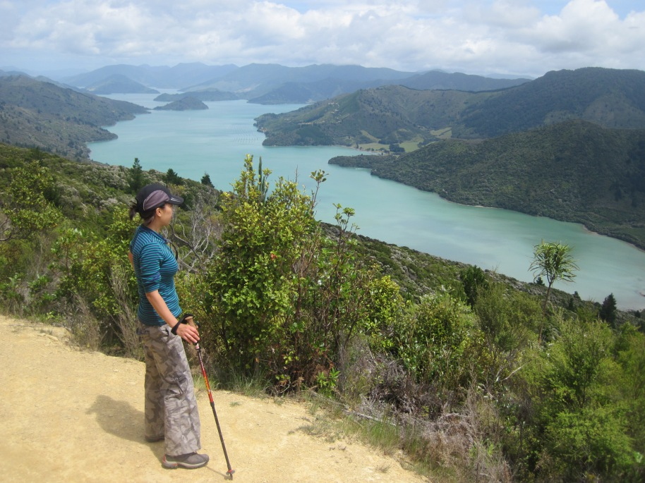 Stephanie enjoying the views over the Queen Charlotte Sound