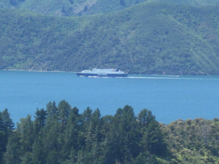 The Interislander ferry in the distance