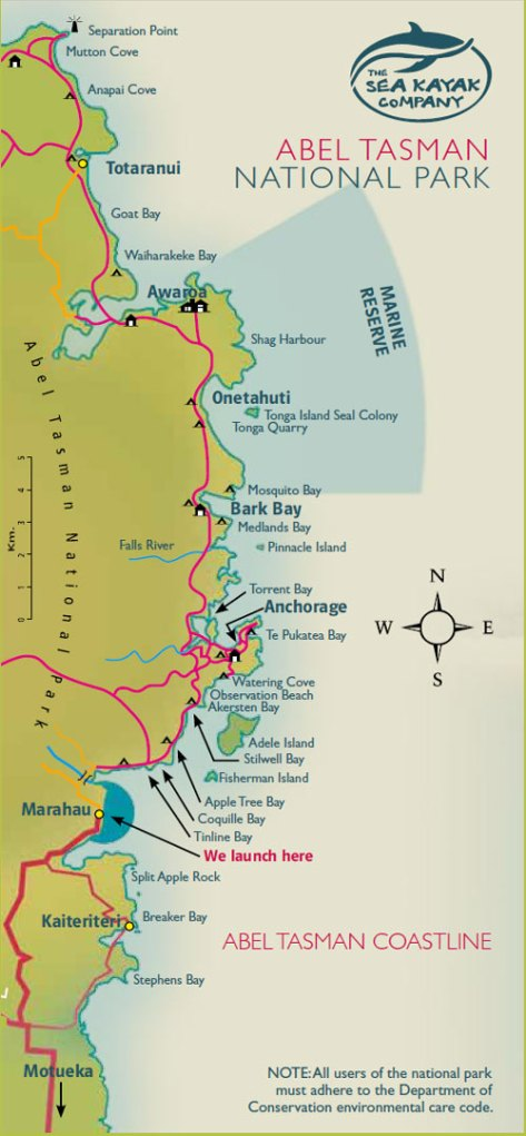 Map of the Abel Tasman National park coastline in New Zealand. (Image courtesy of The Sea Kayak company)