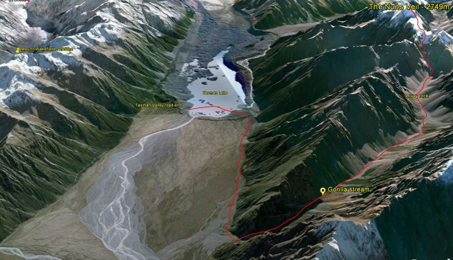 The route up the Nun's Veil in 3D. Click the image to enlarge.