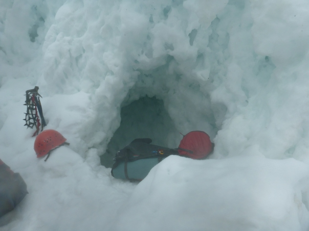 The snow cave.  A welcome if not wet escape from some rough weather for the night.