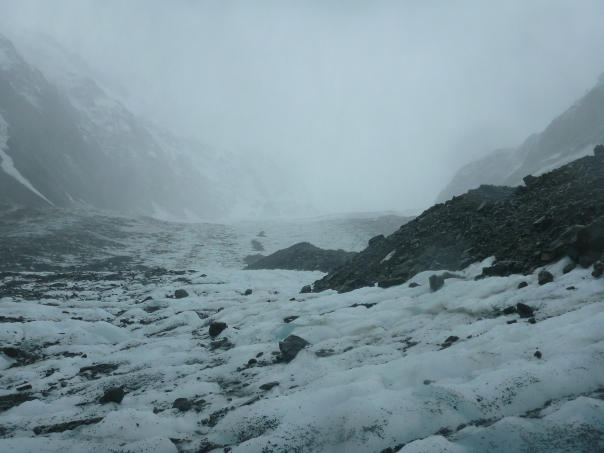 Looking up the Hooker icefall.  Pudding Rock with Gardiner hut is visible top right of photo in the mist.