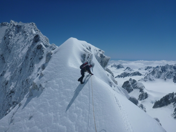 Alan Silva works his way up the final summit ridge on Mt Dixon