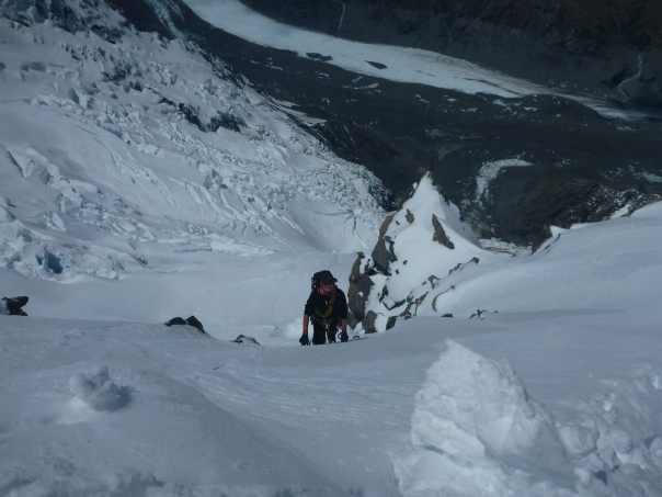 Alan Silva climbing back to the ridge after the fall.