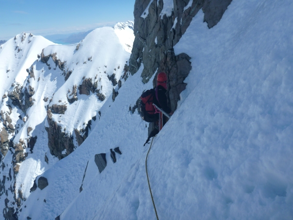 Alan Silva leads the traverse back onto the east ridge