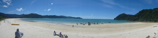 A panorama of Waiharakeke bay - our finish point. We took the water taxi from here back to Marahau.