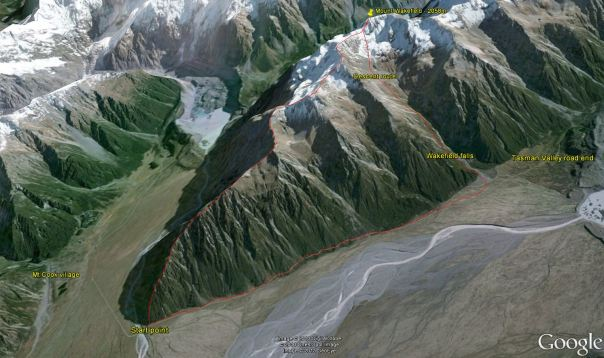 3d image of our route up Mount Wakefield