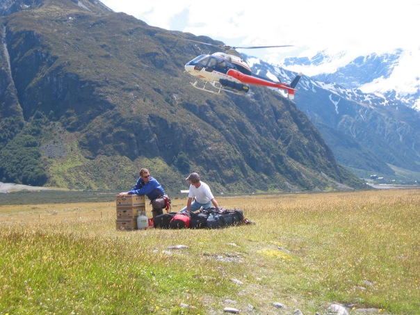 Waiting for the chopper flight into Kelman Hut.