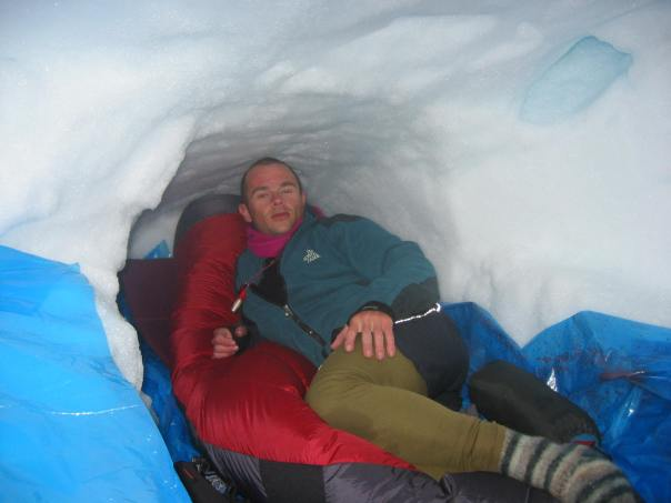 Sleeping in a snow cave