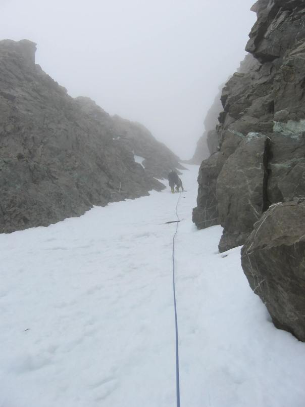 Climbing the snow couloir on 9144