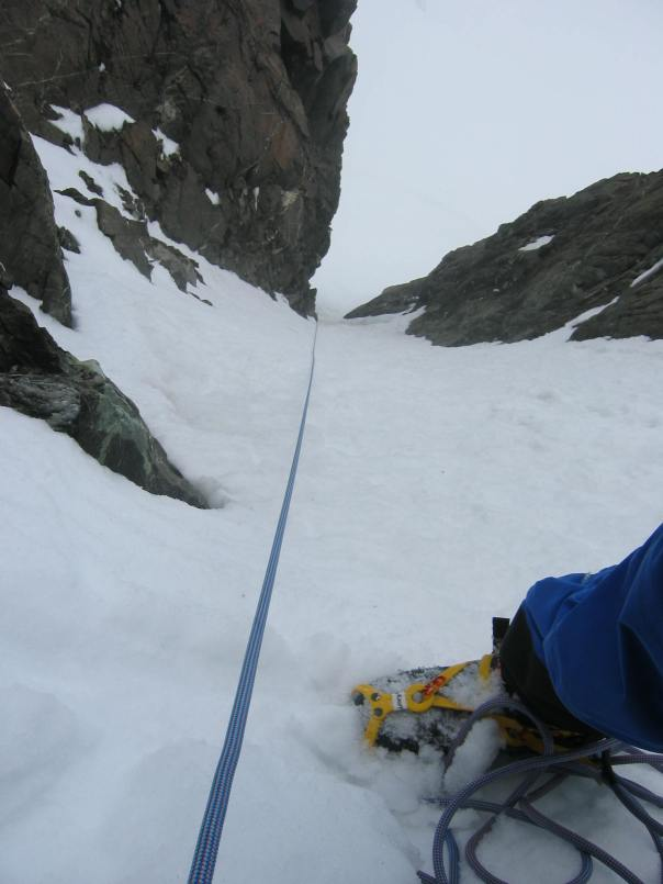 Looking down the snow couloir on 9144