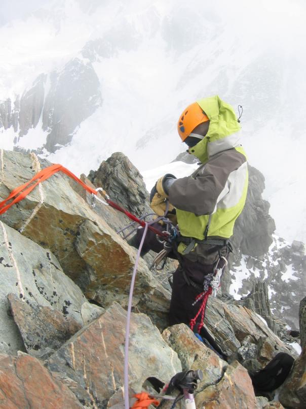 Vanessa Wills on belay close to the summit of 9144.