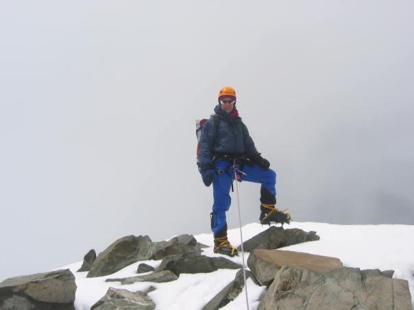 On the summit of 9144 on a cloudy day.