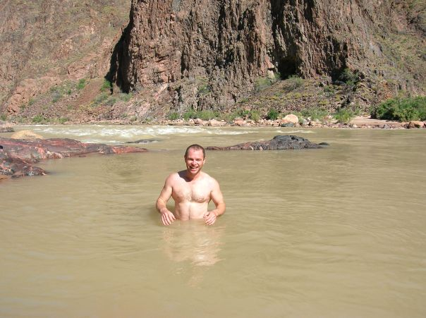 A quick swim in the very cold Colorado River - it is also very murky carrying alot of suspended sediment (dirt)