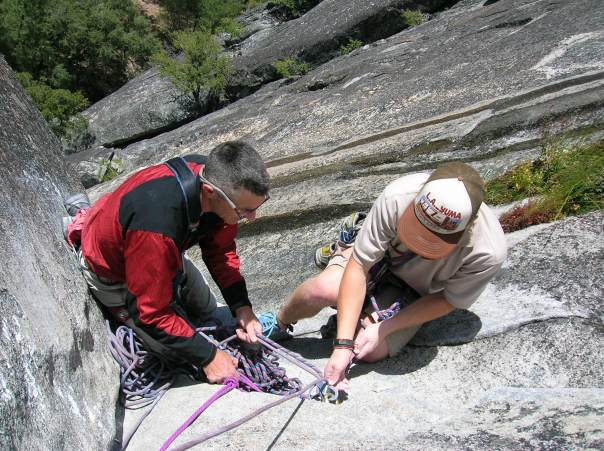 Bill and Eric setting up a belay.