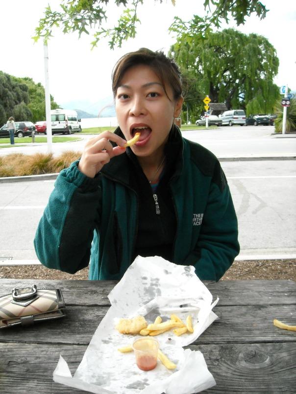 Fish and chips in Wanaka - greasy heaven!