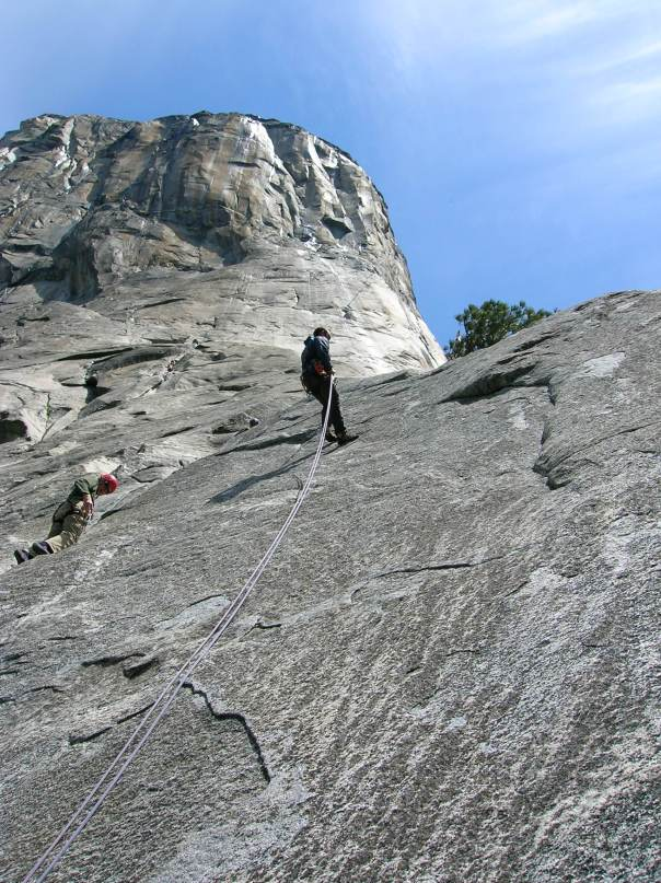 Rapelling off the 1st pitch of El Cap.