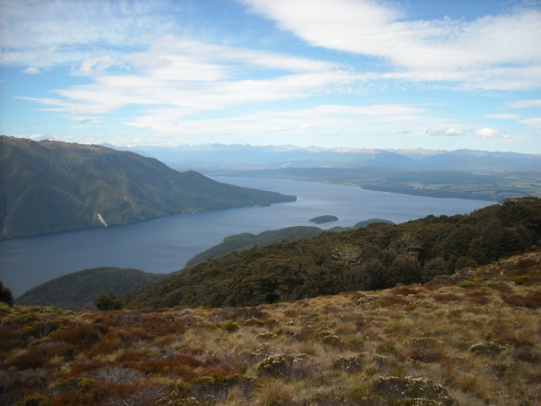 View over Lake Te Anau from Luxmore hut