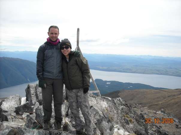 On the summit of Mt Luxmore with Stephanie