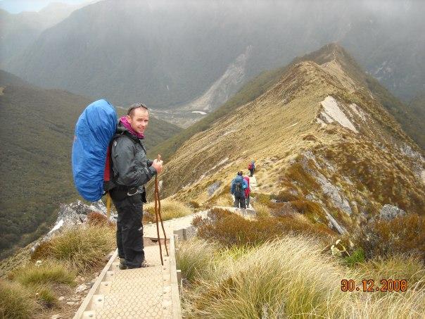 Descending down the ridge line to Iris Burn hut