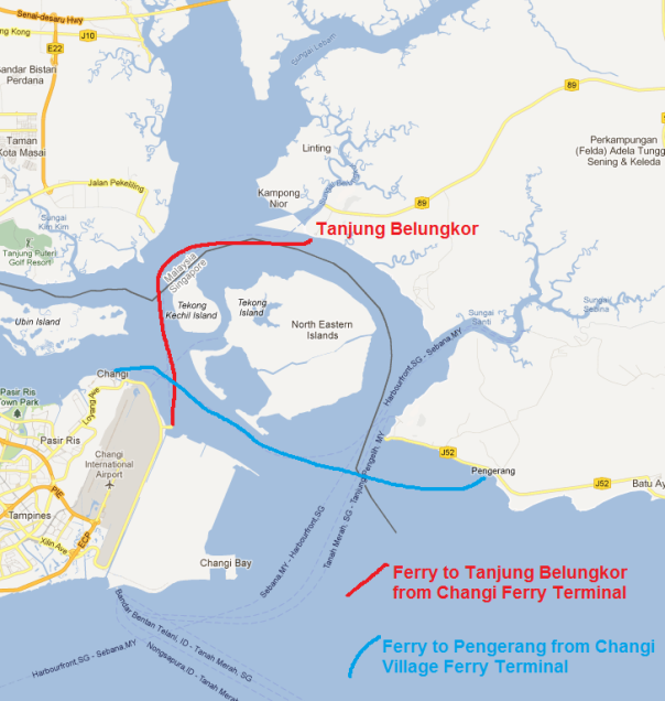 Map showing the two ferry options to get to south east peninsula Malaysia