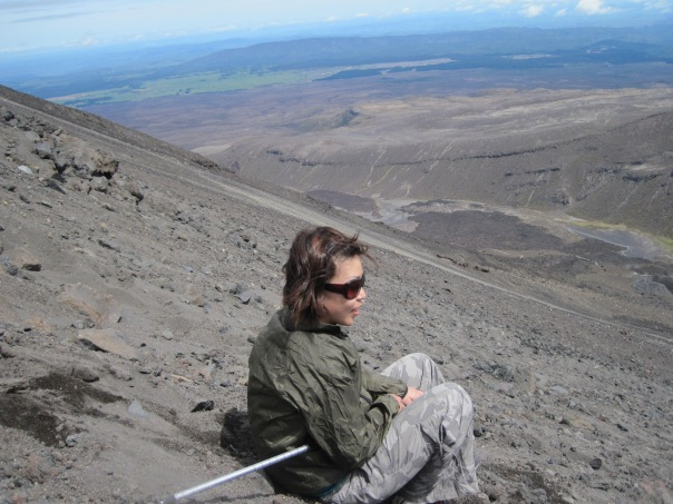 Stephanie taking a break on the scree slopes of Mt Ngaurahoe.  We were attempting the side trip to climb Mt Ngaurahoe but she was uncomfortable on the steep scree so we turned back.