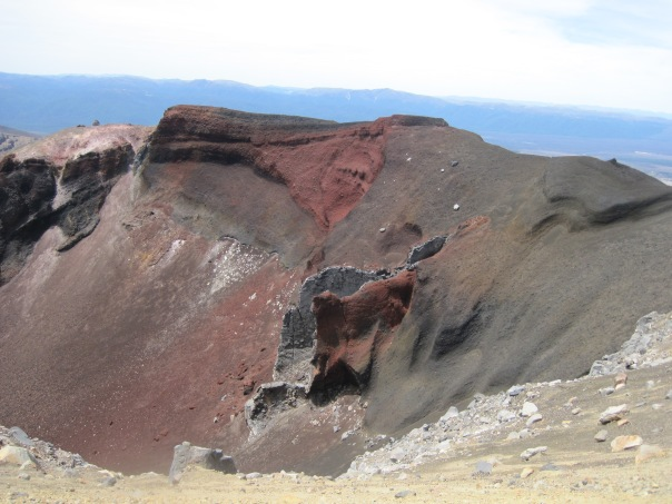 The colors of the soil and rocks in the crater is amazing