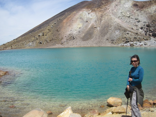 One of the crater lakes. They smell sulfurous and are not fit to drink due to the high amount of sulphur.