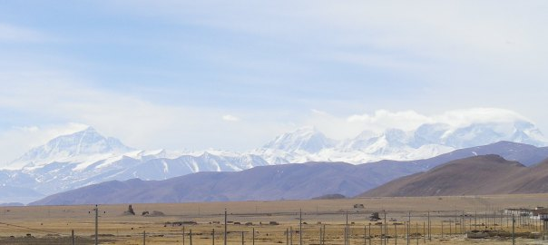View of North Face of Everest from around 150km on the drive into basecamp in Tibet