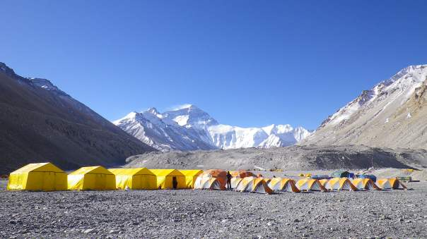 Basecamp in Tibet - North face of Everest in the distance