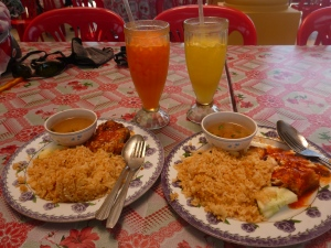Nasi Ayam Goreng for lunch in Sungai Renggit