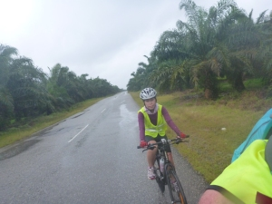 Cycling in the rain on day 2
