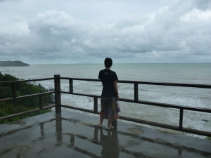 Stephanie enjoying the view from the Tanjong Sutera resort