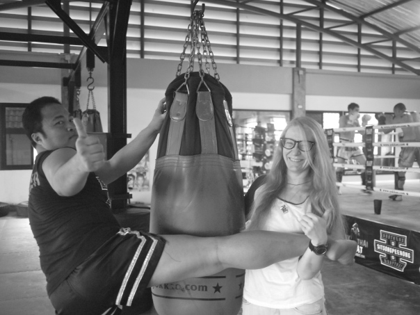 Mila with her trainer at Sitsongpeenong Muay Thai Gym in Bangkok