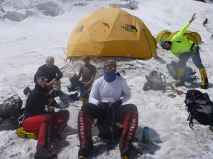 Mila relaxing at Manaslu Camp 1 in September 2012