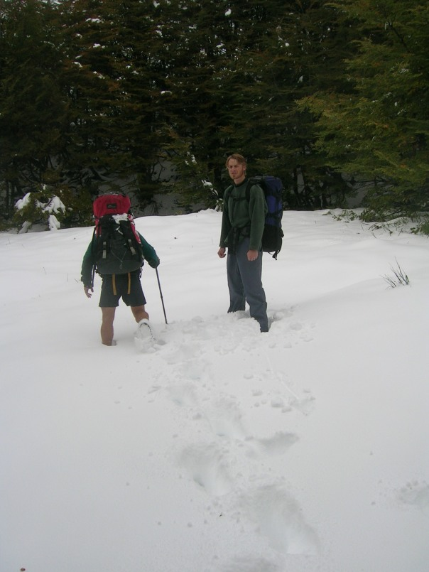 The snow started to get deeper the further up we trekked