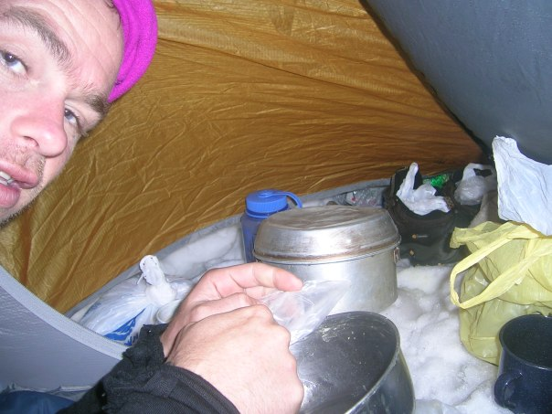 Cooking dinner in the tent