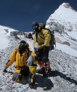 Margaret making the difficult decision to turn back from her summit push on 19 May 2012 at 8600m on  at 8600m, just below the third rock step on the North East ridge of Everest.