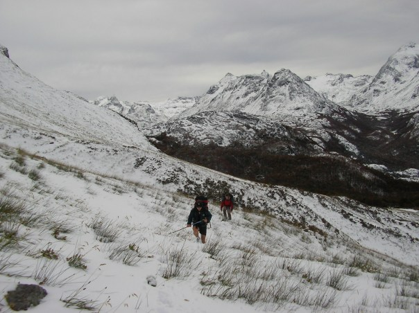 Heading up towards the pass - route finding was a challenge as the snow got deeper.