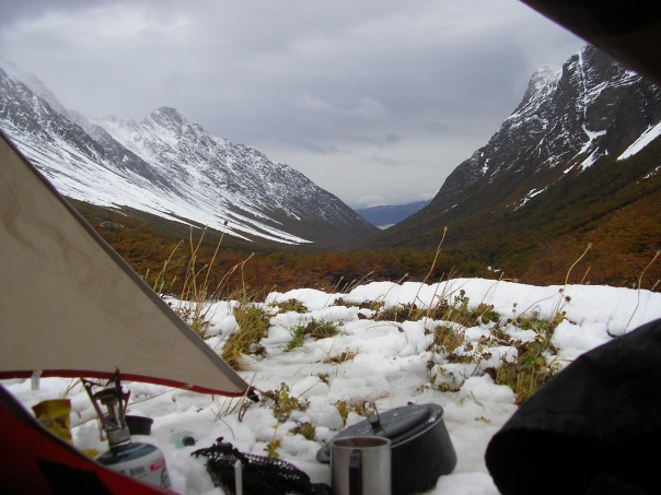 View out the tent door - you can just make out the Beagle channel